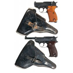 "Two Walther P-38 Semi-Automatic Pistols with Holsters -A) Walther ""ac 44"" Semi-Automatic Pistol"