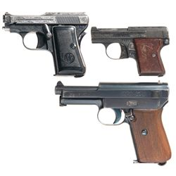 Three European Semi-Automatic Pistols -A) Engraved Beretta Model 418 Semi-Automatic Pocket Pistol