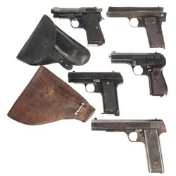 Five Semi-Automatic Pistols -A) Beretta Model 1934 Semi-Automatic Pistol with Holster