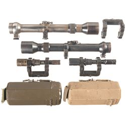 Four Rifle Scopes and Accessories