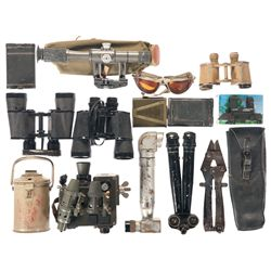 Grouping of Military Binoculars and Other Military Related Gear