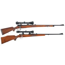 Two Scoped European Bolt Action Rifles -A) Custom Unidentified Model 98 Style Bolt Action Rifle with