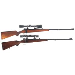 Two Scoped Bolt Action Rifles -A) Husqvarna Mauser Bolt Action Rifle