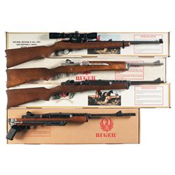 Four Boxed Ruger Semi-Automatic Rifles -A) Ruger Model 10/22 Semi Automatic Rifle with Scope