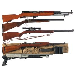 Five Long Guns -A) Chinese SKS Semi-Automatic Rifle with Bayonet
