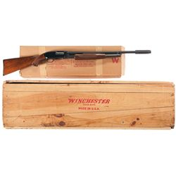 Boxed Winchester Model 12 Skeet Slide Action Shotgun, Sign, and Crate