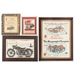 Four Framed Indian Motorcycle Advertisements