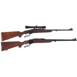 Two Ruger No. 1 Single Shot Rifles -A) Ruger No. 1 Falling Block Rifle with Scope