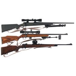Three Bolt Action Rifles -A) Winchester Model 70 Bolt-Action Rifle with Scope