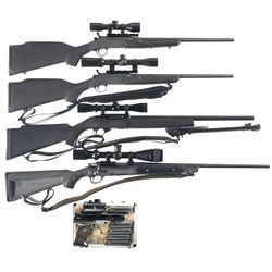Four Scoped Long Guns and One Pistol -A) New England Firearms Model Sportster Single Shot Rifle