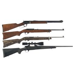 Four Sporting Long Guns -A) Custom Engraved Marlin Model Golden 39A Mountie Lever Action Rifle