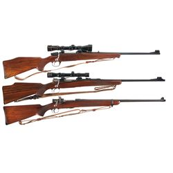 Three Bolt Action Rifles -A) Husqvarna H5000 Bolt Action Rifle with Sling and Scope