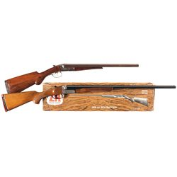 Two Hammerless Side by Side Shotguns -A) Baltimore Arms Side by Side Damascus Hammerless Shotgun