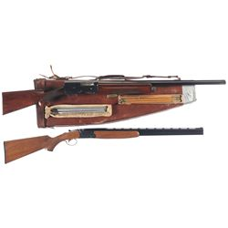 Two Shotguns -A) Browning Auto 5 Semi-Automatic Shotgun with Case and Extra Barrel
