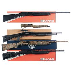 Four Boxed Shotguns and One Shotgun Receiver -A) Benelli Nova Slide Action Shotgun