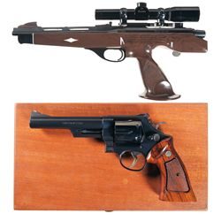 Two Hand Guns -A) Remington Model XP-100 Single Shot Bolt Action Pistol with Scope