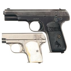Two Colt Hammerless Semi-Automatic Pistols -A) Colt Model 1903 .32 Semi-Automatic Pocket Pistol