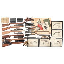 Grouping of Edged Weapons, Firearm Magazines and Assorted Paper Items