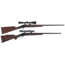 Two Browning Single Shot Rifles -A) Browning Model 1885 Single Shot Rifle with Scope