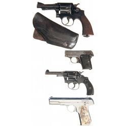 Two Double Action Revolvers and Two Semi-Automatic Pistols -A) Smith & Wesson Military & Police 38 R