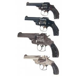 Four Smith & Wesson Double Action Revolvers -A) Smith & Wesson 1st Model .32 Safety Hammerless Doubl