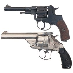 Two Double Action Revolvers and Three German Uniforms -A) Nagant 1895 Double Action Revolver and Thr