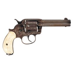 Custom Engraved Colt Model 1878 Frontier Double Action Revolver with Ivory Grips