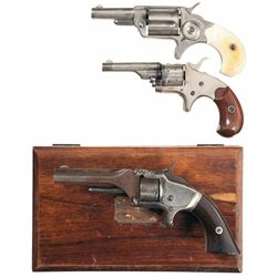 Three Antique American Revolvers -A) Colt New Line 32 Caliber Etched Panel Single Action Revolver wi