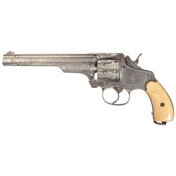 Engraved Merwin Hulbert & Co. Double Action Folding Hammer Revolver with Ivory Grips