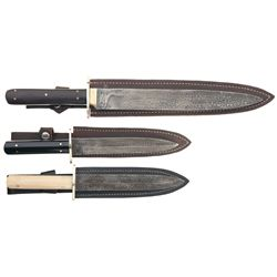 Three Damascus Pattern Sheffield Knives with Sheaths