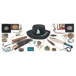 Collection of Belt Buckles, Turquoise Jewelry, Knives, and Related Items