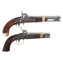 Two U.S. Martial Percussion Pistols -A) U.S. Henry Aston Model 1842 Percussion Pistol