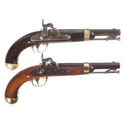 Two U.S. Percussion Pistols -A) Unmarked Model 1842 Percussion Pistol
