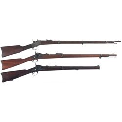 Three Long Guns -A) Remington Military Model Rolling Block Rifle