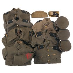 Grouping of U.S. Uniforms, Mostly WWI Era U.S. Navy Aviation Green Tunics