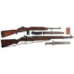 Two Semi-Automatic U.S. Longarms -A) Early WWII Winchester M1 Semi-Automatic Carbine with Bayonet an