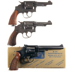 Three Smith & Wesson Double Action Revolvers -A) Smith & Wesson Victory Model Double Action Revolver