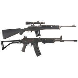 Two Semi-Automatic Rifles -A) Ruger Mini 14 Ranch Semi-Automatic Rifle with Leupold Scope