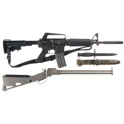Two Long Guns -A) DPMS Panther A-15 Rifle with Bayonet, Sheath, Bipod, and Extra Magazine