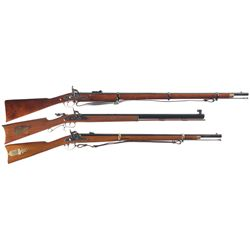 Three Percussion Long Guns -A) Parker- Hale Reproduction 1853 Enfield Percussion Rifle Musket