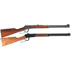 Two Winchester Model 94 Lever Action Carbines -A) Winchester Model 94 Lever Action Saddle Ring Carbi