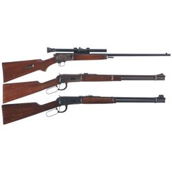 Three Winchester Long Guns -A) Winchester Model 63 Semi Automatic Rifle with Scope