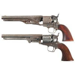 Two Percussion Revolvers -A) Copy of a Colt 1861 Navy Percussion Revolver