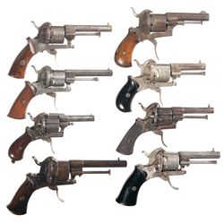 Eight Folding Trigger Double Action Pinfire Revolvers -A) Belgian Double Action Pinfire Revolver