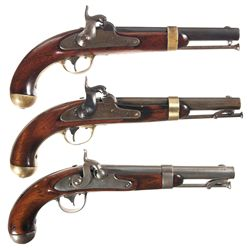 Three U.S. Percussion Pistols -A) Johnson Model 1842 Percussion Pistol