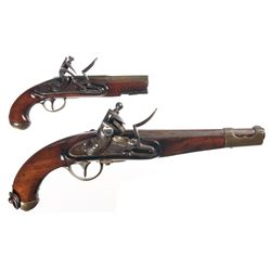 Two Flintlock Pistols -A) Unmarked Brass Barreled Flintlock Pistol