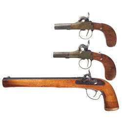 Three Percussion Pistols -A) Belgian Brass Frame Percussion Pistol