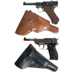 Two German Semi-Automatic Pistols with Holsters -A) 1920 DWM Luger Pistol