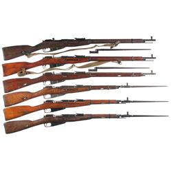 Six Mosin Nagant Bolt Action Military Longarms -A) Finnish Proofed Mosin Nagant Model 91/30 Bolt Act