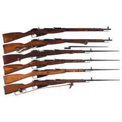 Six Mosin Nagant Bolt Action Military Longarms -A) Mosin Nagant Model 91/30 Bolt Action Rifle